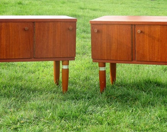 Pair Vintage Nightstands End tables Mid Century Danish Modern Authentic Gorgeous