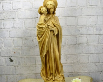Large Statue Virgin Mary Madonna Infant Child Chapel Snake under Her feet 26.77""