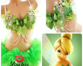 Sexy Adult Tinkerbell Costume, Women Halloween Costume, Sexy Fairy Costume, Sexy Fairy Rave Costume, edc outfit, rave outfit