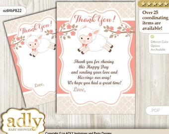 Girl Lamb Thank you Card Printable for Baby Girl Shower or Birthday DIY Coral, Sheep - oz84bPB22