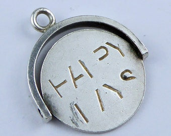 Sterling Silver Spinner charm / pendant - HAPPY DAYS
