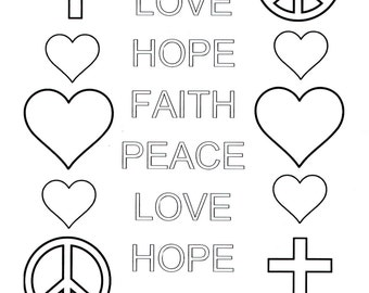peace love hope faith coloring sheet adult coloring sheet coloring page