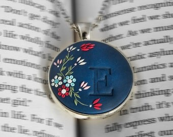 Personalized initial necklace, Navy Blue embroidered necklace, bridesmaid gift, personalised gift, letter, colorful necklace valentines