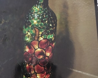 Grapes with Vines  Lighted Wine Bottle