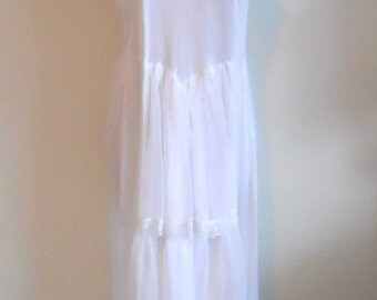 Ultra Femme Vintage 1980's ~ Bridal White Long Nightgown ~ Nylon & Chiffon ~ Wedding ~ Honeymoon ~ Glamorous ~ Lolita ~ Medium