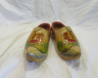 Wooden Shoes, Holland, Wood, Hand Carved, Hand Painted, Windmill, Collectable, Home Decor, Vintage, 1950's