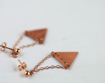 Delicate earrings with small textured triangles // long dangle earrings // rose gold // fall // geometric earrings // christmas jewelry gift