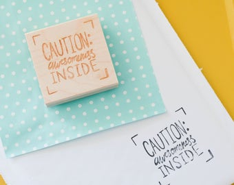 Etsy Shop Stamp, Shipping Stamp, Packaging Stamp, Stamp for Etsy Shop, Caution Awesomeness Inside, Stamp for Packages, Snail Mail Stamp
