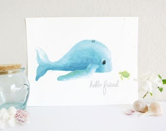 Hello Friend Whale and Turtle Art Print, Whale Art Print, Ocean Nursery Decor, Sea Turtle Art Print, Ocean Nursery Art Print, Baby Room Art