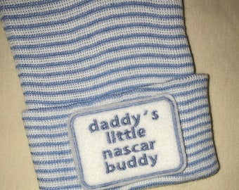 Newborn Hospital Hat daddy's little  nascar buddy. 1st Keepsake, Baby Boy Hat. Gender Reveal, Surprise Dad! Coming Home Hat, Cute Baby Gi