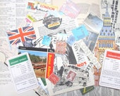 London paper ephemera pack: 40 vintage pieces including postcards, die cuts, pictures. Craft pack for travel journals, scrapbooks. EP532