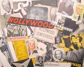 Vintage movies ephemera pack: 50 paper pictues, die cuts, book pages. Embellishments for scrapbooks, smash book, collage, journals. EP552