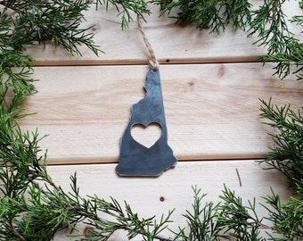 Love New Hampshire State Steel Ornament Rustic NE Metal State Heart Host Gift Keepsake Travel Wedding Favor By BE Creations