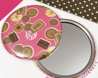 Tea Time Treats Party Rings Jammy Dodger Bourbon Biscuits Fabric Pocket Make Up Travel Cosmetic Vanity Hand Mirror by Miss Cherry Makewell