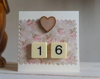16th Birthday Card - Mini Sweet Sixteen Card - Unique Handmade Card - 16th Anniversary - Friend 16th - Little Card - Cute Card