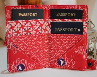 Family passport wallet organizer/holder, handmade, 4-6 passports