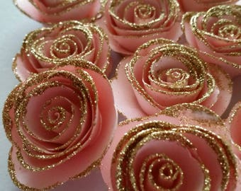 Pink And Gold Roses, Pink And Gold First Birthday, Paper Rose, Pink And