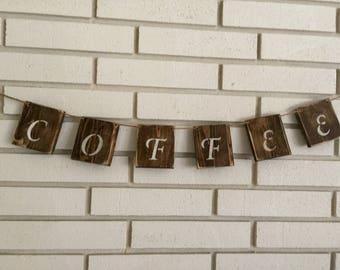 Coffee Rustic Wood Block Banner