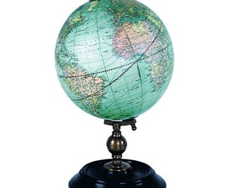3 styles - Vintage early 1900s world map globe on wooden stand