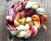 MILLEFIORE color, Superwash Targhee spinning fiber, roving, handpainted, hand dyed, combed top, domestic, American made, wool