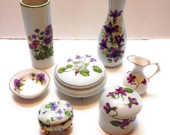 Lot of 7 Small Purple Flower China Items: Vases, Trinket Boxes, etc.