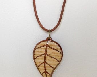 Marquetry leaf necklace