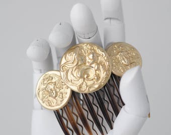BIANCA: Coin/Medallion  Hair Comb