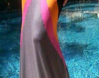 Maya Antonia-Slimming Black-Grey-Pink-Orange Chevron Color-Block Maxi Skirt Extra Long