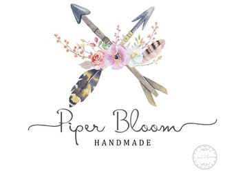 Premade Logo Rustic Floral Peonies Watercolor Boho Arrows Script Modern Custom Shop Business Card Branding