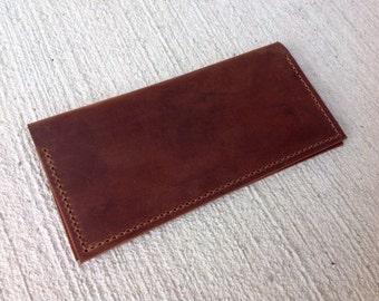 Business Size Handmade Brown Leather Checkbook Cover