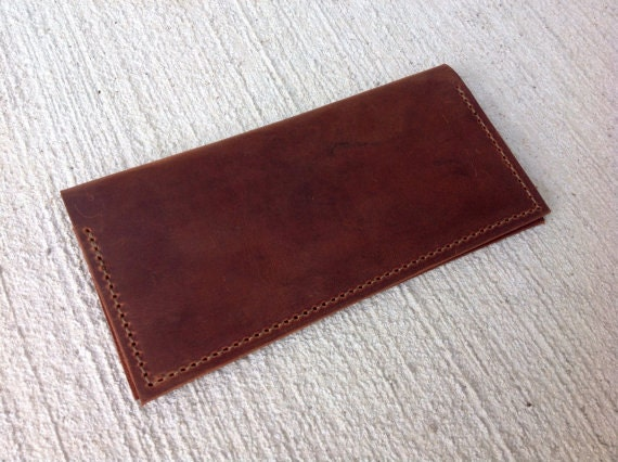 Business Checkbook Cover : Business size handmade brown leather checkbook cover