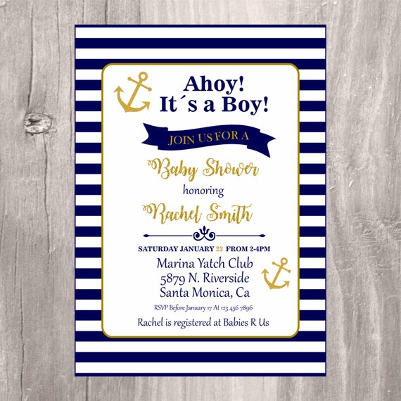 Nautical baby shower invitation navy and gold printable baby shower il570xn filmwisefo Images