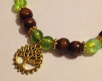 Wooden & Acrylic Bead Stretch Bracelet