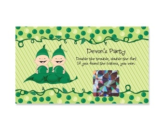 Twins Scratch Off Game - Twins Two Peas in a Pod - Personalized Baby Shower or Birthday Party Game Cards - Set of 22