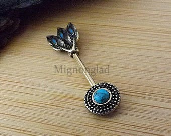 14g 14mm / Gold Plated Bar Opal Glitter Centered Tribal Shield Ends 316L Surgical Steel / Nipple Ring