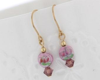 14KT Gold Filled Vintage Glass Bead Dangle with Crystal Dangle Earrings, Vintage Glass, Glass Bead Earrings, Pink Bead, Floral, flower