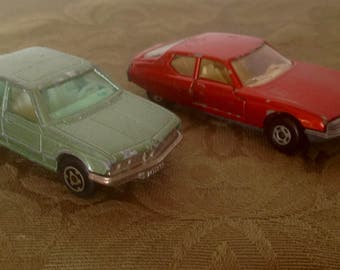 Vintage Diecast Model Cars. Matchbox Citroen, Majorette BMW. 1970's.