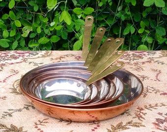 Set of 6 Vintage Copper Frying Pans. Brass Handles. 1960's/70's.