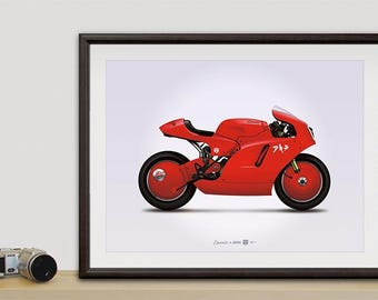 Ducati x Akira custom motorcycle illustration poster, print 18 x 24 inches