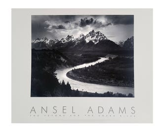Vintage The Teton and Snake River By Ansel Adams 24x30 Print published by Little Brown