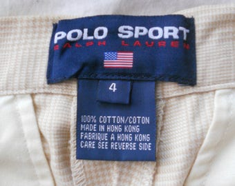 VINTAGE RALPH LAUREN Polo Sport Tan Micro-checked Pants 100% Cotton Man Tailored Cuffed Slacks Women size 4