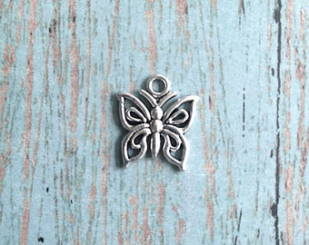 10 Small butterfly charms (1 sided) silver tone - silver butterfly pendants, insect charms, nature charms, papillon charm, spring charm, N11
