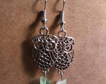 Beautiful owl earrings with 1940's German glass beads.