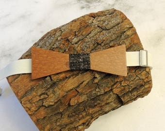 Leopardwood bow tie; black patterned fabric center tie; Wooden bow tie; Unique bow tie; Handmade bow tie