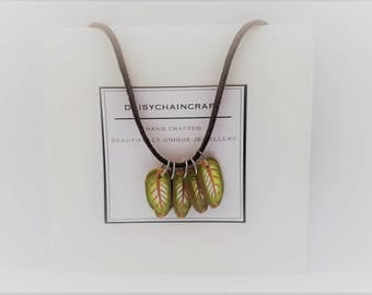 """Woodland Collection """"Leaf"""" Polymer Clay Pendant Necklace by daisychaincraft"""