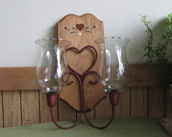 Vintage Wall Sconce Candle Holder Rust Painted Heart Design Folk Art