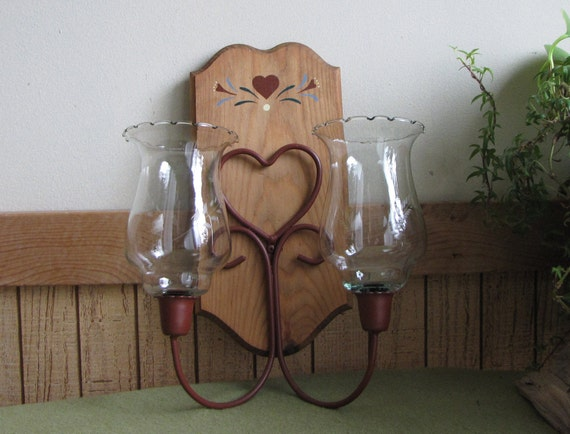 Candle Wall Sconces For Living Room: Vintage Wall Sconce Candle Holder Rust Painted Heart Design