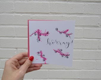 Horray! Card with pink pattern