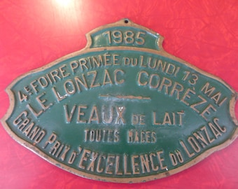 Vintage French Plaque from Monday, May 13, 1985 Livestock Faire.