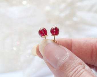 Gold plated stud earrings with agate stones